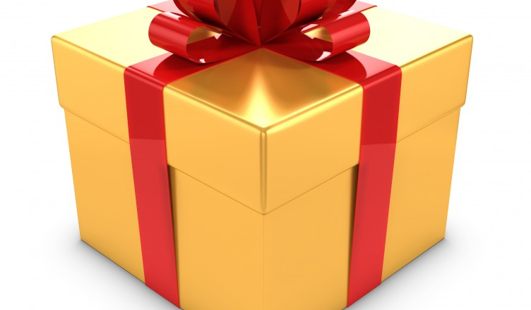 3d Gold Gift box with red bow and ribbons